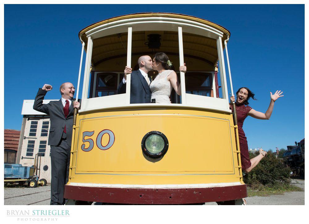 Fort Smith Wedding Photos on a trolley