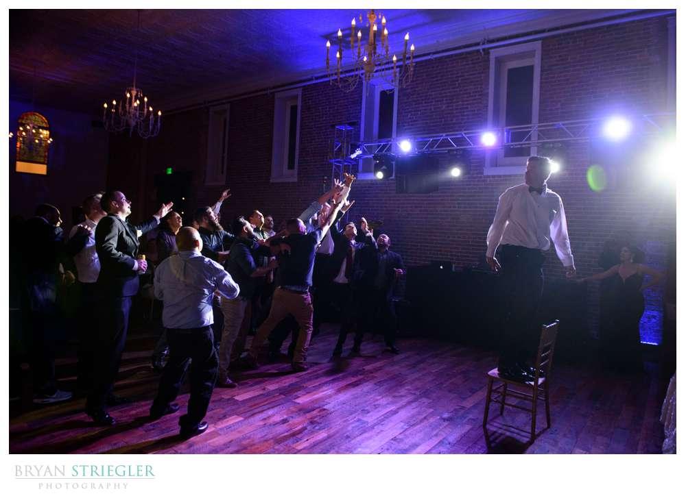 garter toss at the Ravington