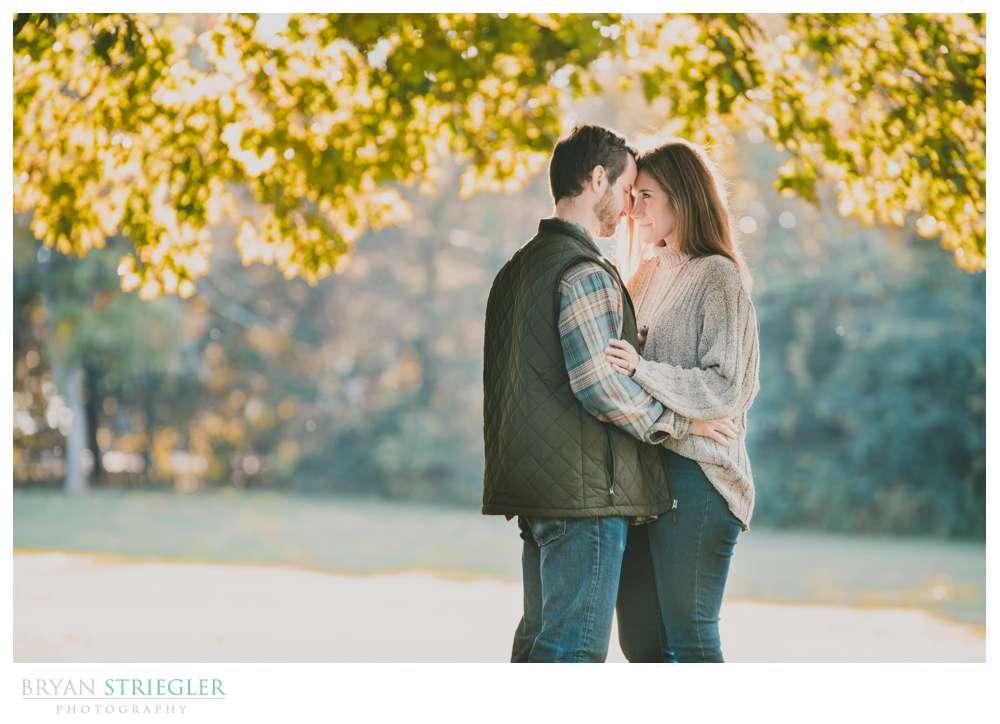 backlit engagement photo