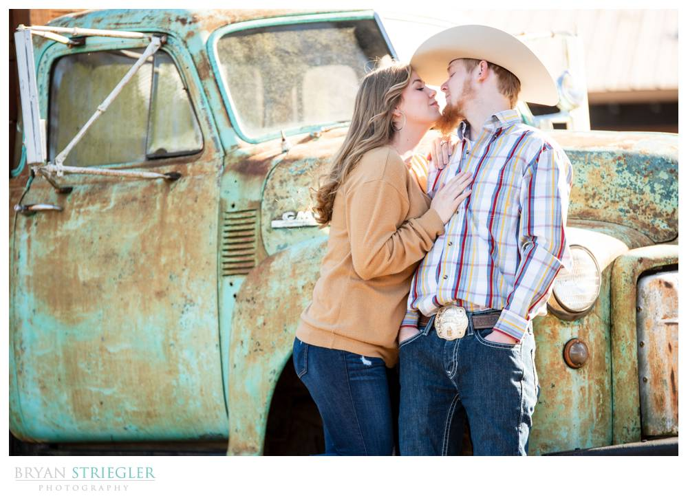 engagement photo with an old truck