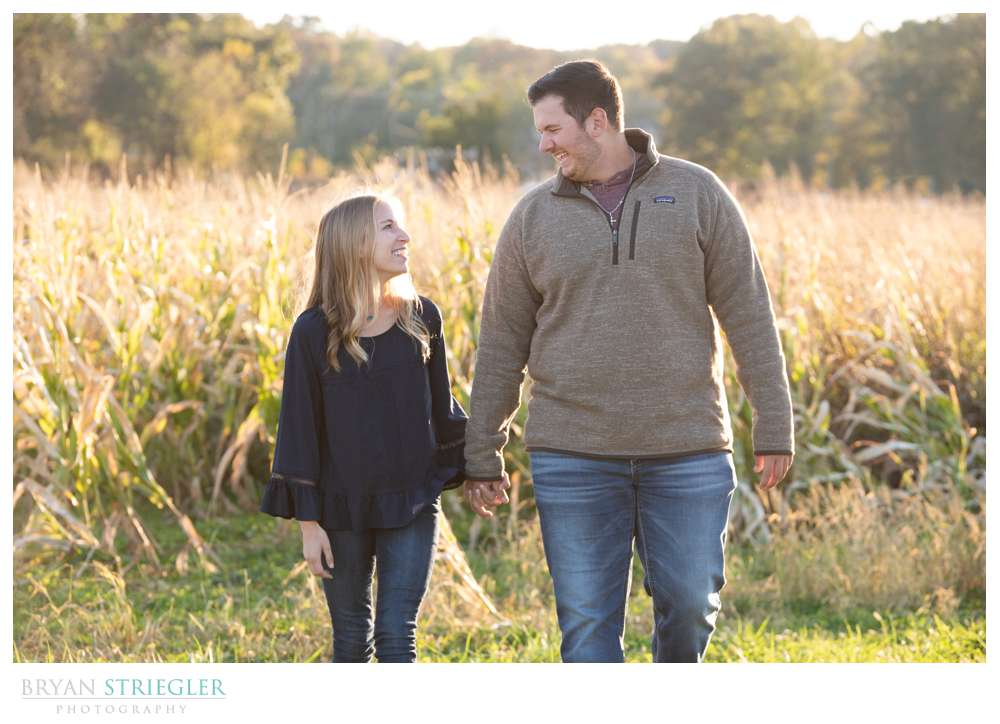 engagements in corn field