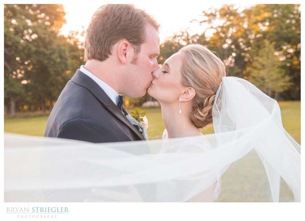 bride and groom in veil