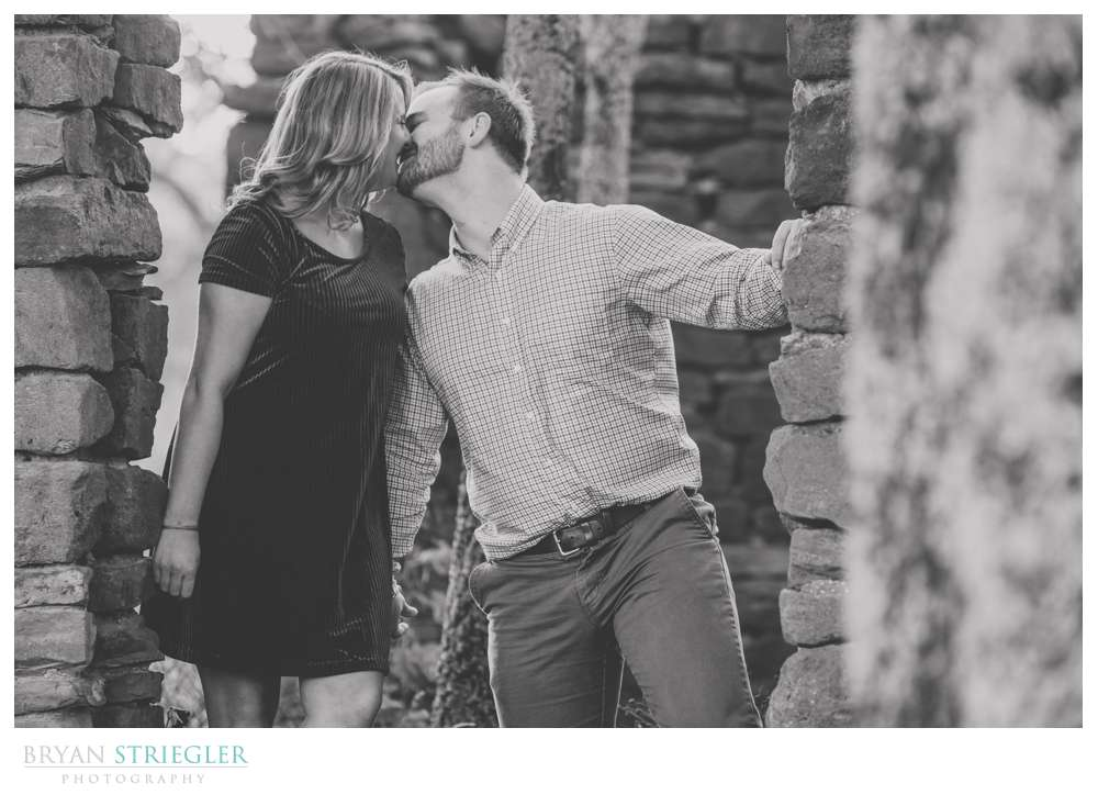 engagement photos in an old brick building