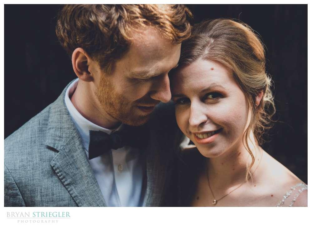 high angle on wedding couple