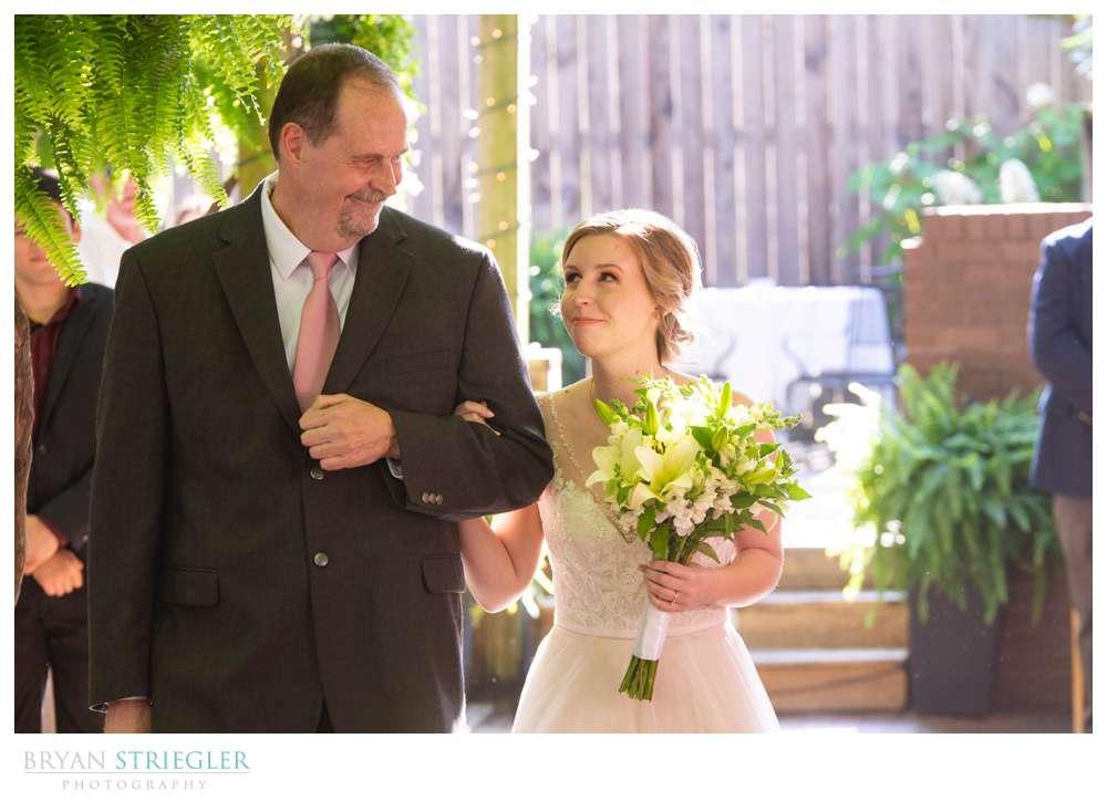 bride looking at dad