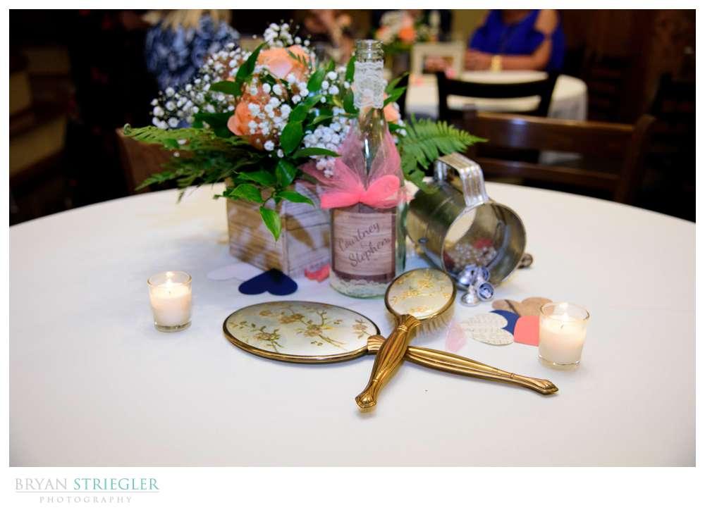 wedding centerpiece with antique items