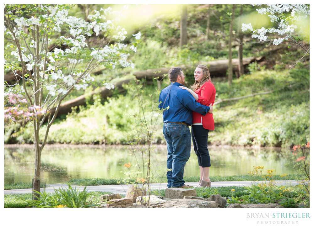 Engagement photo at Crystal Bridges