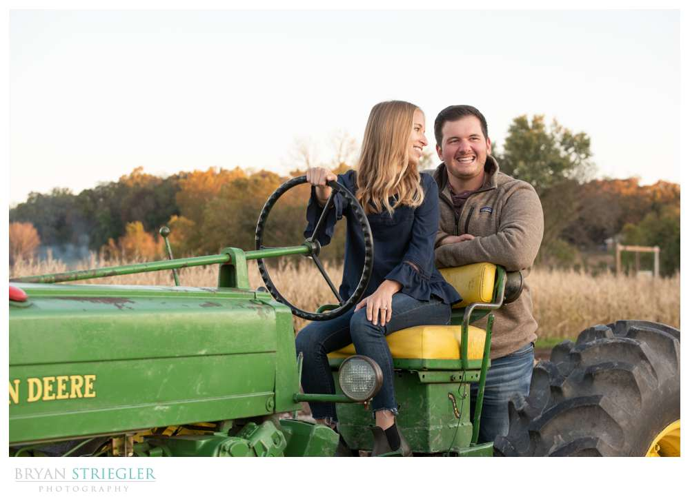 engagement photo on tractor