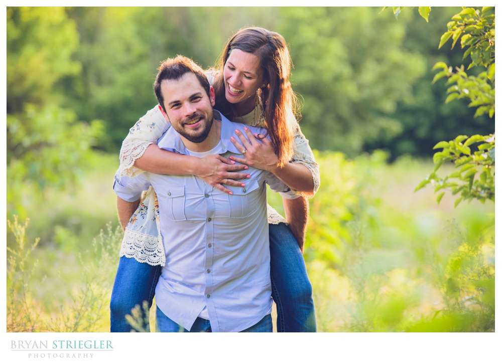 piggy back ride during engagement session