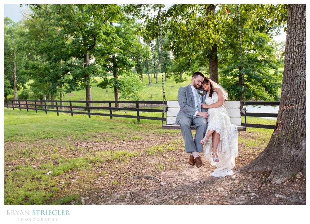 wedding couple on swing