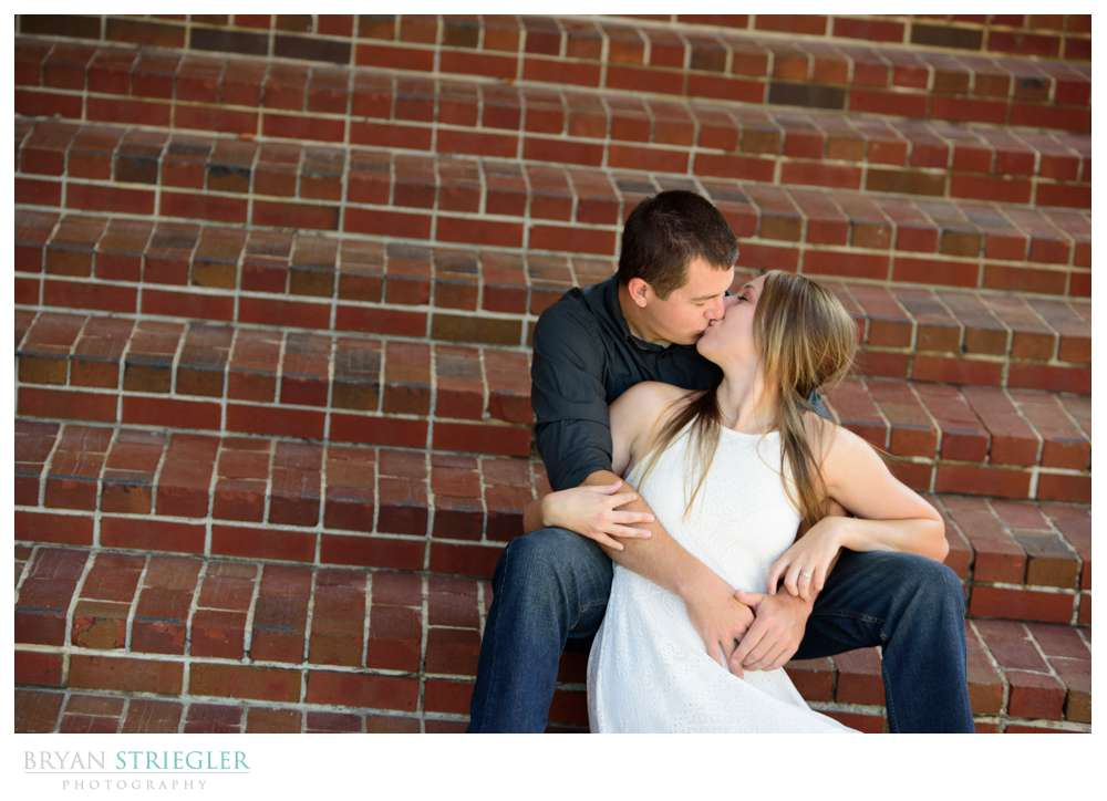 engagement photos on steps