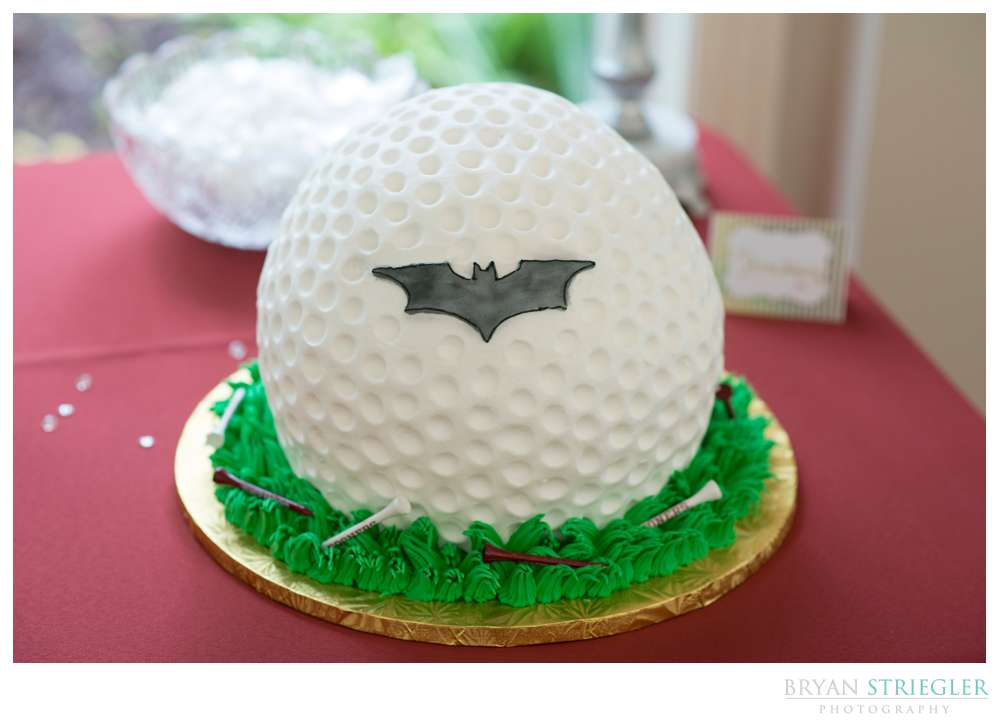 Groom's cake golf ball with Batman symbol
