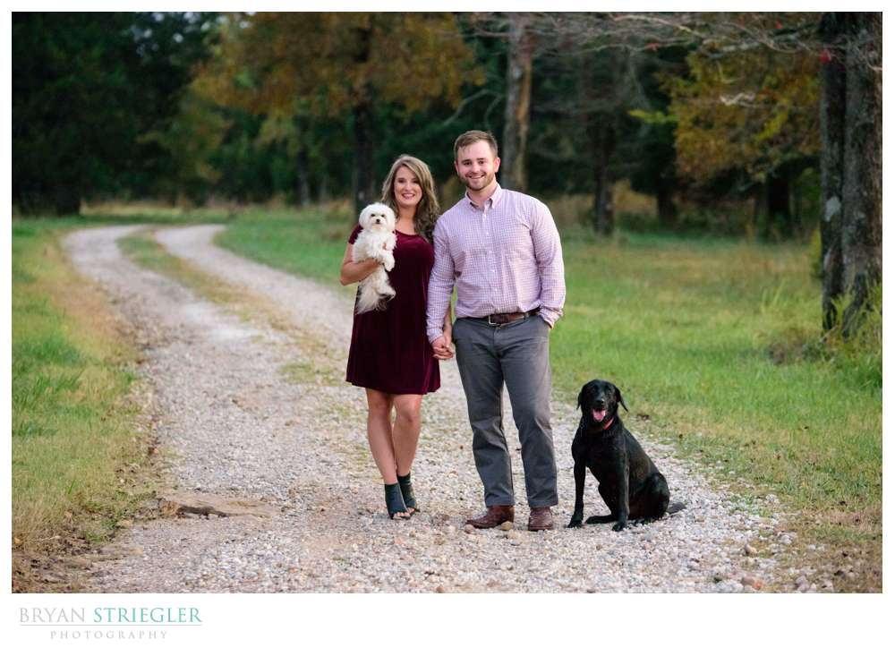 engagement photos on a dirt road with dogs