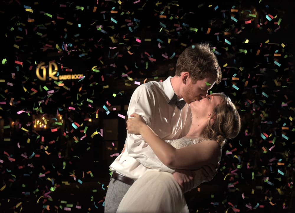 confetti pic with bride and groom