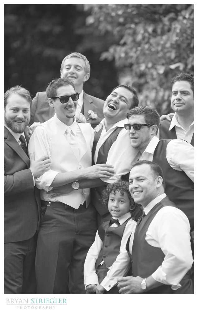 Rogers Wedding Arkansas groomsmen laughing