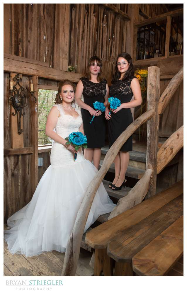 Fayetteville Wedding Photographer bridal party on stairs St. Catherine's at Belle Gable