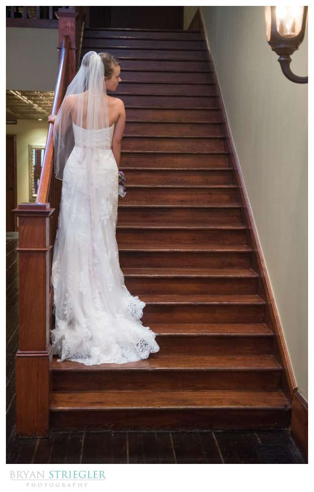 dramatic Rogers bridal portraits back of dress on stairs