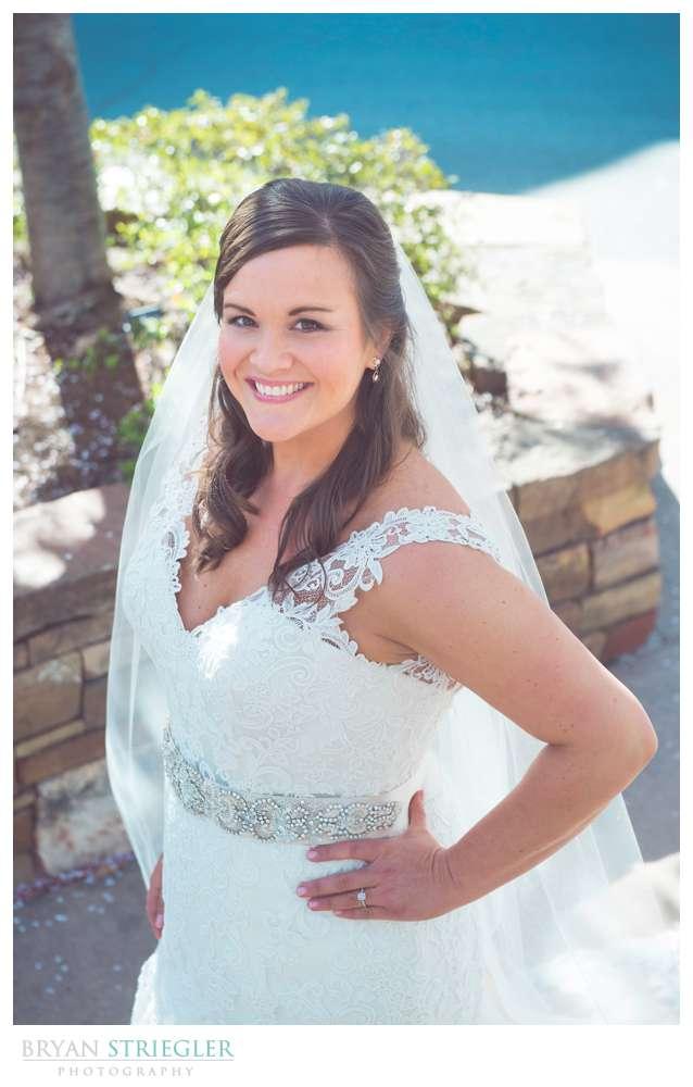 Fayetteville, Arkansas wedding bride outside