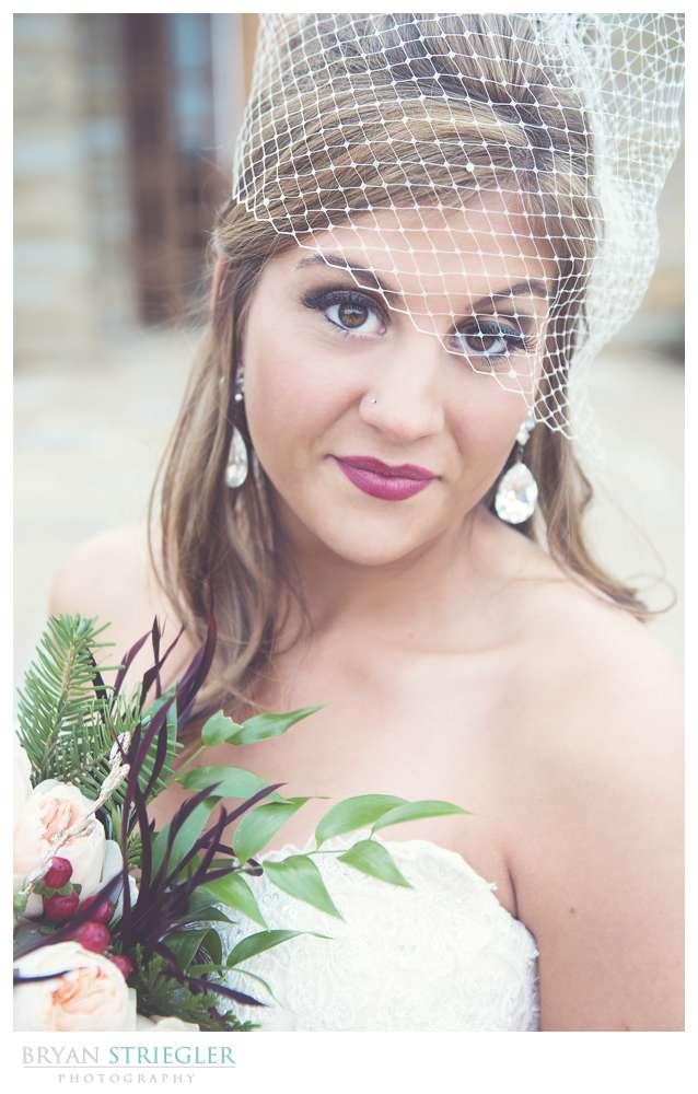 Arkansas Winter Wedding bride portrait