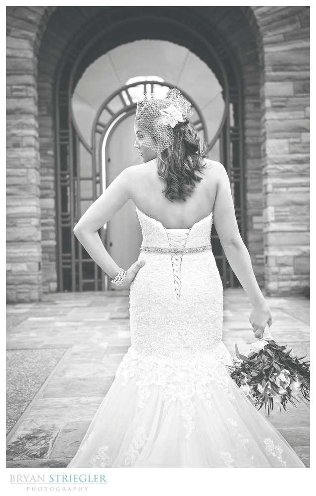 Arkansas Winter Wedding bride back of dress