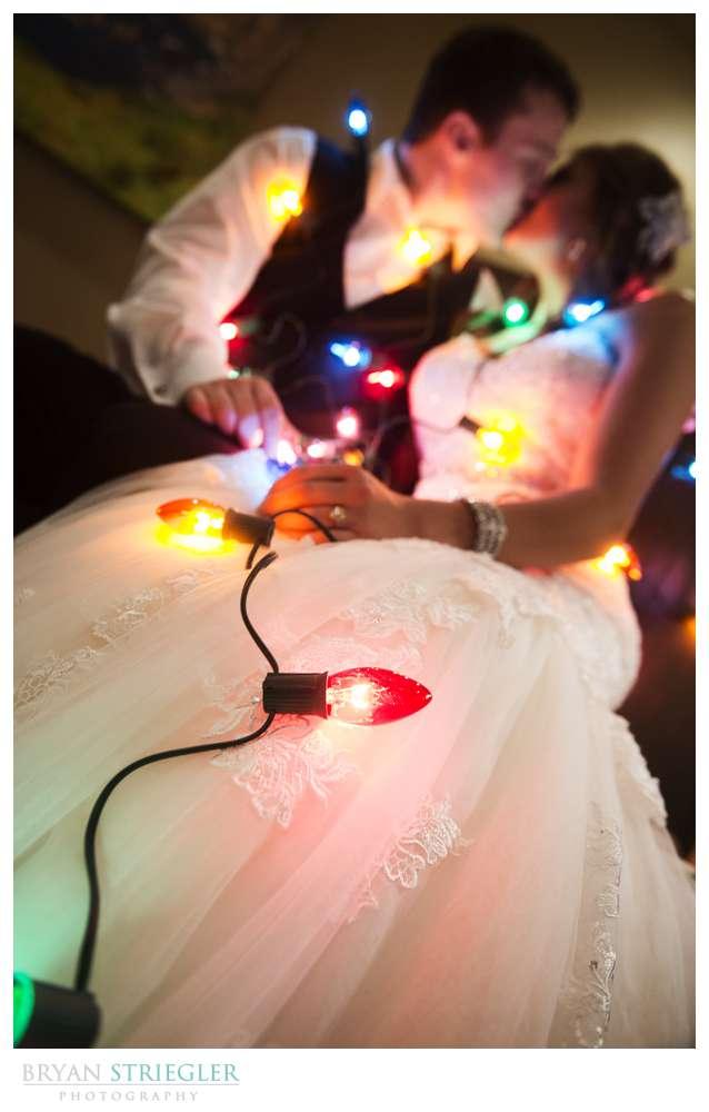 Arkansas Winter Wedding couple with Chistmas lights