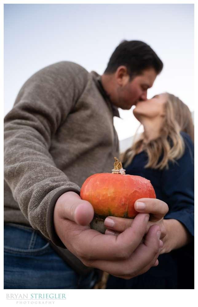 engagement ring on pumpkin