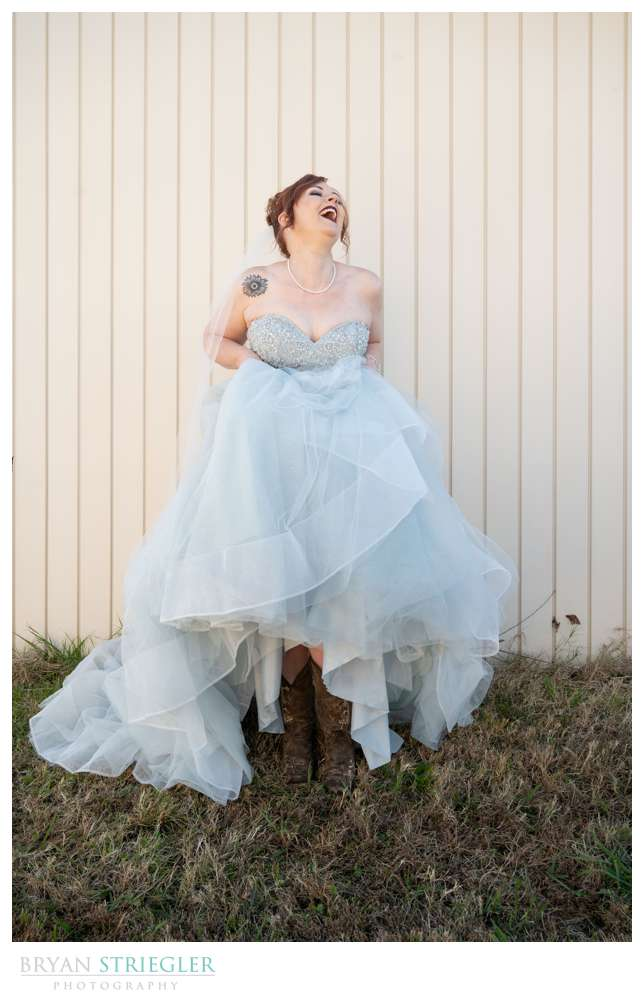 bride showing off boots