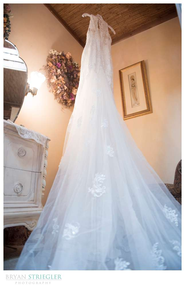 wedding dress hanging in bridal suite at St. Catherine's at Bell Gable