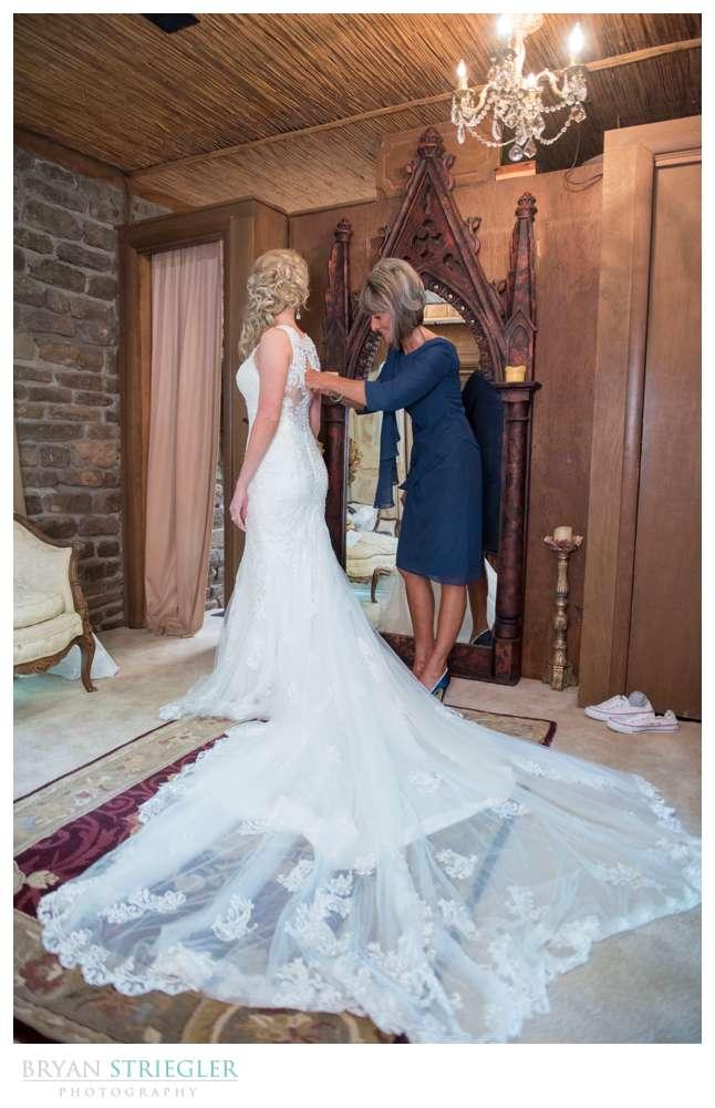 long train on wedding dress spread out