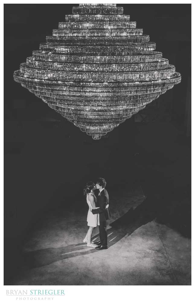 wedding photo with chandelier at Legacy Acres