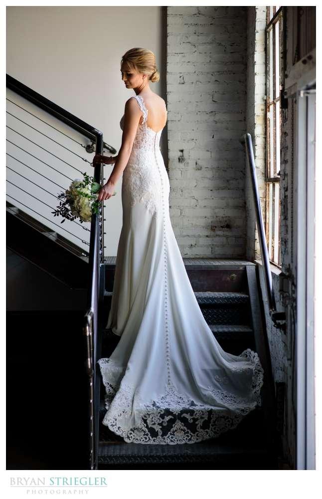 bridal portrait on stairs at brickhouse ballroom