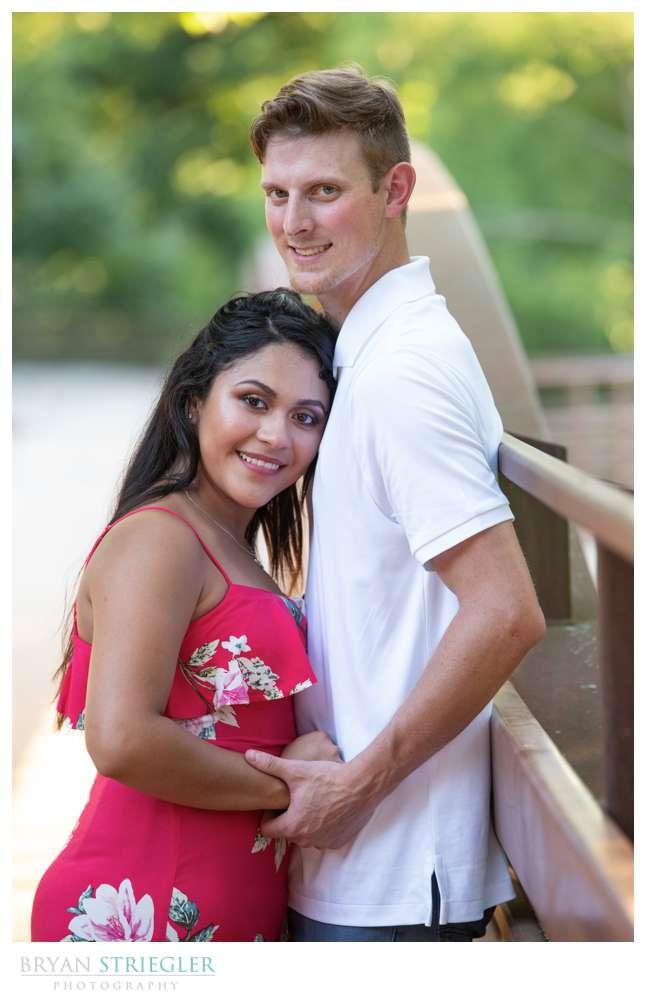 engagement photo on bridge