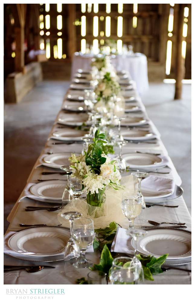 wedding table with plates