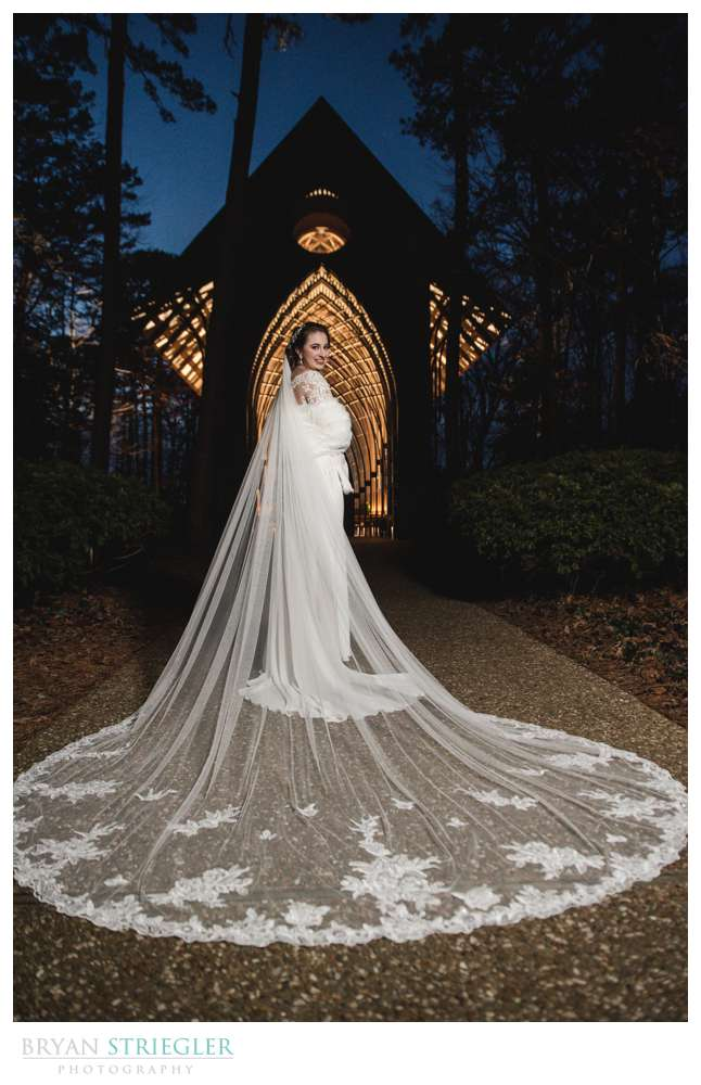 wedding dress with flowing vail
