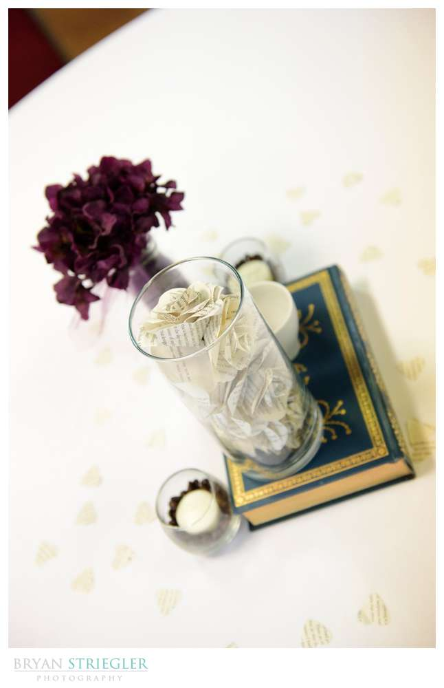 wedding center piece with classic book