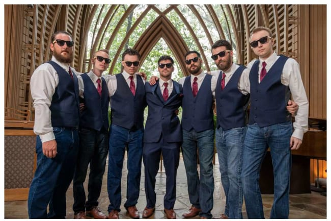 groomsmen with shades