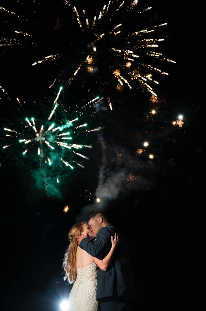 fireworks show at the end of wedding after lockdown