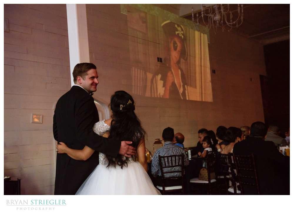 watching slideshow during reception