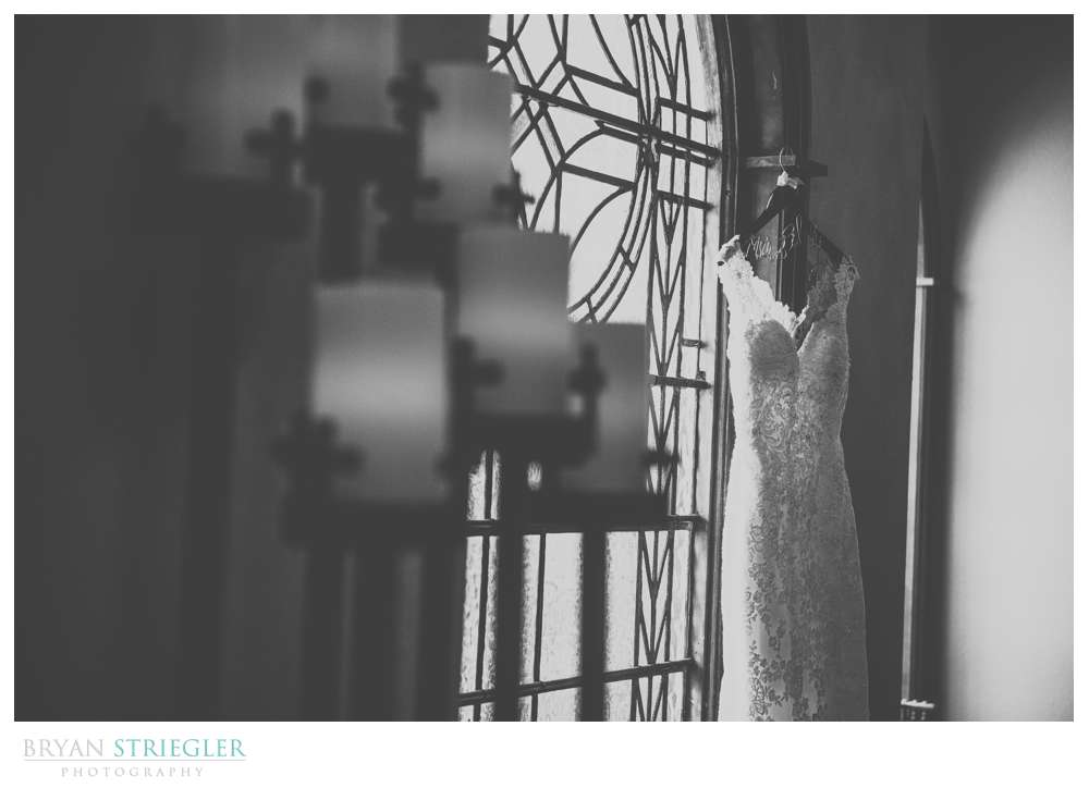 dress hanging at Matt Lane Farm in black and white