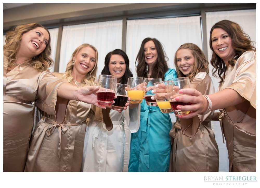 bridemaids toasting