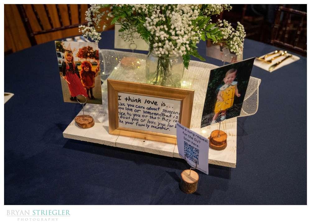 wedding centerpieces with children's writing