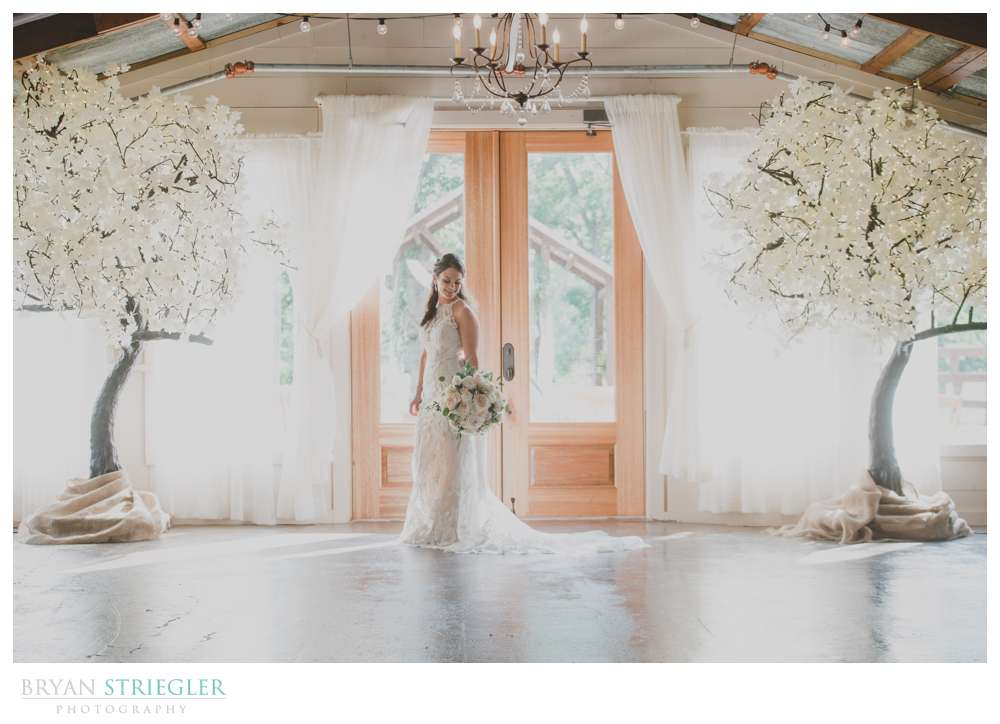 bride in front of doors at Barn at the Springs