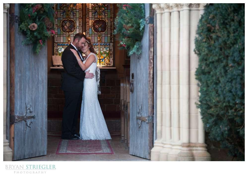 Fayetteville Wedding Photographer couple in doorway