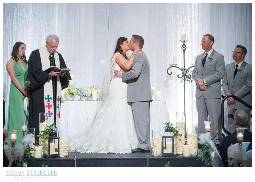 Fayetteville, Arkansas wedding the kiss Town Center