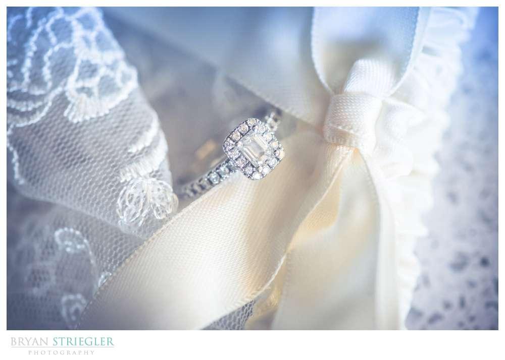 Fayetteville, Arkansas wedding ring in garter