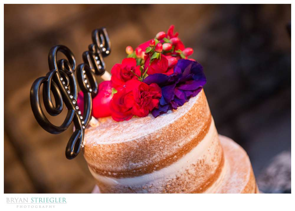 Fayetteville Wedding Photographer wedding cake with Love topper