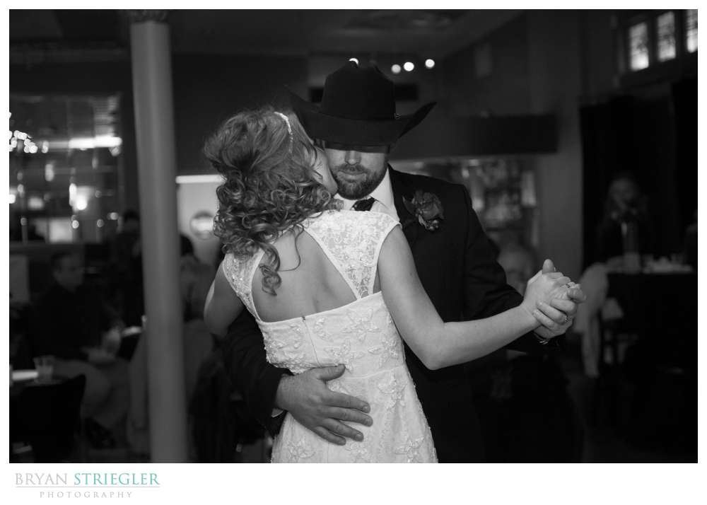 Fayetteville Wedding Photographer couple's first dance black and white
