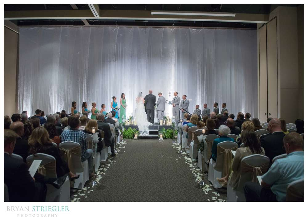 Fayetteville, Arkansas wedding wide view of ceremony