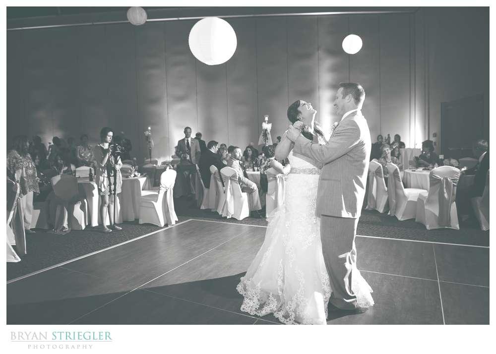 Fayetteville, Arkansas wedding first dance black and white