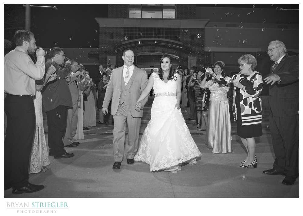 Fayetteville, Arkansas wedding bubble exit